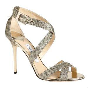 JIMMY CHOO Metallic Glitter Ankle Strap Stiletto